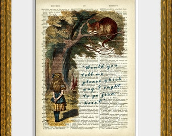 ALICE IN WONDERLAND 02 - recycled book page print - an upcycled antique dictionary page with Alice and the Cheshire Cat - home decor