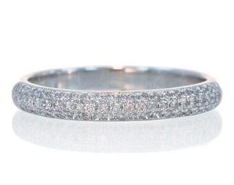 18 Karat White Gold or Rose Gold Matching Diamond Pave Wedding Band