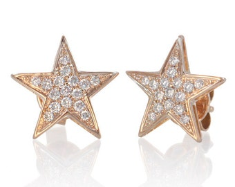 18K Rose Gold Pave Diamond Star Earrings