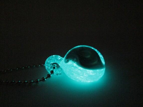 Glow in the Dark Glass Necklace - Sky Swirls