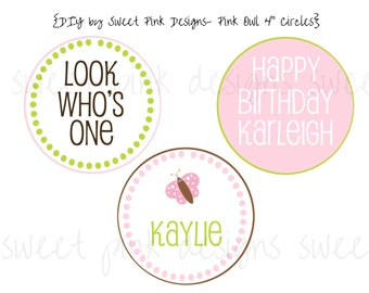 "Printable 4"" Party Circles- Pink Owl Party Collection"