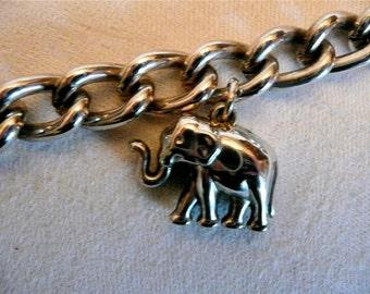 Vintage Silver Bracelet - Charm Bracelet - Elephant Charm - Chain Link Bracelet - Animal Charm - Bracelet - Africa - Large Link Chain