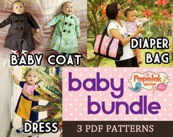 Baby Bundle 3 PDF Patterns: Baby Coat, Dress & Diaper Bag by Popolok Design