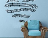 90x73cm Removable Beautiful Heart Music Note   Nature Vinyl Wall Paper Decal Art Sticker Q809