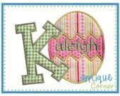 Easter Egg Alphabet letters A-Z digital design for embroidery machine by Applique Corner
