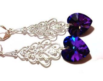 Crystal Heart Earrings, Chandeliers, Heliotrope Heart, Swarovski Earrings, Valentine's Day Jewelry, Filagree Earrings