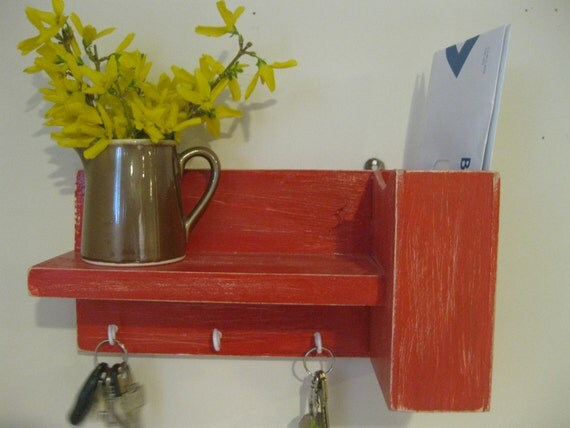 Decorative wall shelf rustic shelfhome decor key holder