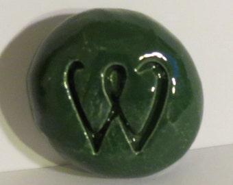 LETTER W Pocket Stone - Ceramic - GREEN Art Glaze - Inspirational Art Piece