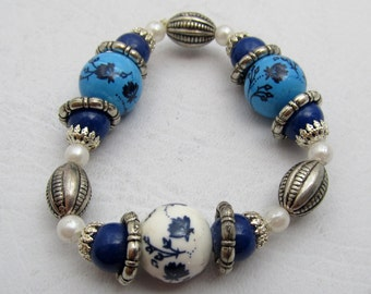 Beaded Stretch Bracelet, Blue & White Bracelet, Painted Glass Bead, Silvertone Bracelet. OOAK Beaded Jewelry, Gifts for Her - Small Sized