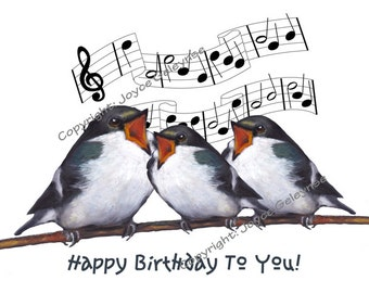 Hand Drawn Clip Art: Freehand Drawing, Three Birds Singing Happy Birthday, Commercial Use, Print or E Card, INSTANT DOWNLOAD
