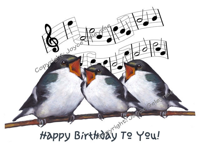 Printable Birthday Clip Art Three Birds Singing Happy – Birthday Cards That Sing