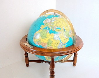 Vintage Globe 1960s Rand McNally Wood Table Stand  gift under 60 Aqua Oceans Mad Men Office Decor