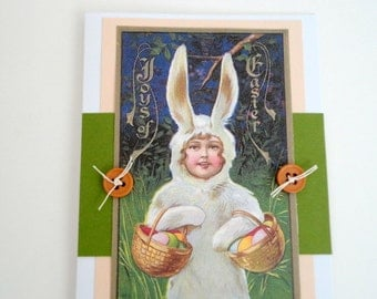 Vintage Easter Handmade Card- Postcard Image- Child as Bunny- Spring Blank card by metrocottage