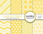 Digital Scrapbook Paper Pack - Lemon Zest - 2013 Pantone Spring Collection - INSTANT DOWNLOAD