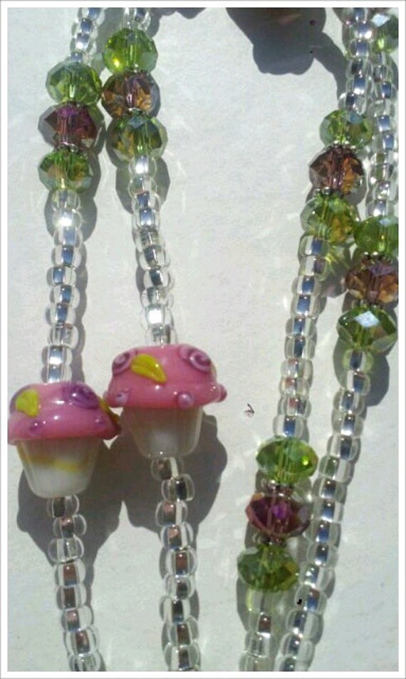 Beaded Lanyard ID Badge CUPCAKEs Czech Rose Sage Crystals  LQexpressions