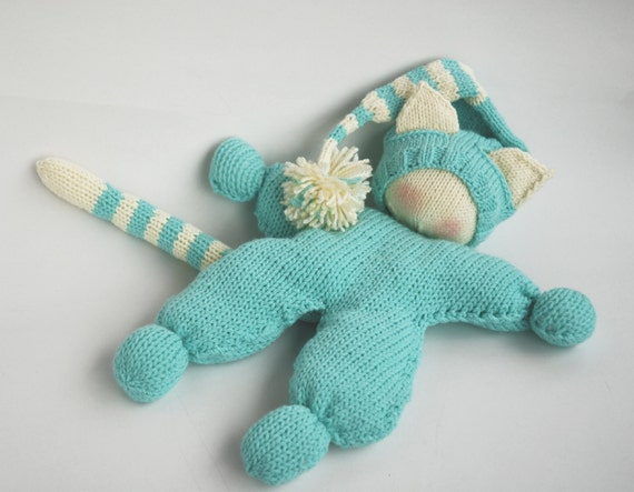 Waldorf knitted Cat doll for small babies pdf knitting