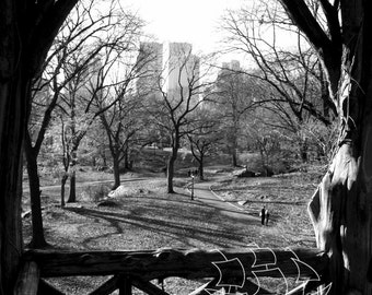 Window Seat Photograph - Digital Print - Photo Mat - New York City - Central Park - Wood Gazebo - Black and White - Wall Art
