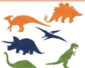 INSTANT DOWNLOAD - Patterned Dinosaur Printable Digital Clip Art - Sillhouette - Orange, Blue, Green - For Personal or Commercial Use
