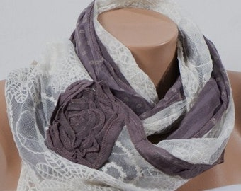 Mink-purple and Cream Big Scarf with a big flowers. Valentine Scarf. For 4 seasons. For her.