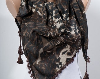 Big Sale. BROWN LEOPARd Scarf with fringe. Big Scarf or Shawl. For 4 seasons. For her. Valentine Scarf