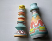 Candle holders southwestern aztec pair handpainted set
