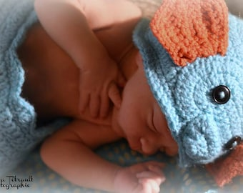 crochet photo prop 'Seahorse' hat and cocoon set- size newborn or 0-3months