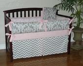 Light Baby Pink , Gray , Damask , Chevron,  3-5pc Girl Crib  Bedding Set.