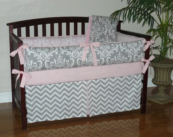 Baby Bedding Light Baby Pink , Gray , Damask , Chevron,  3-5pc Girl Crib  Bedding Set.