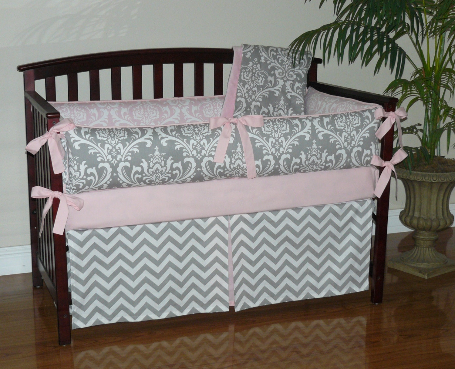 Baby Bedding Light Baby Pink Gray Damask Chevron 3-5pc