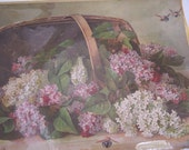 "SALE was 168- OLD Stone Lithograph -Paul deLongpre  ""A Basket of Lilacs"" -1899"