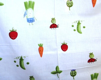 "Cotton kids fabric with vegetables, 46""x18"""