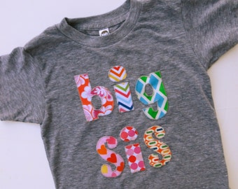 flowers, chevron, hearts, pinks BIG SIS Big Brother Shirt Sibling Shirt for  Little Sister Children Clothing