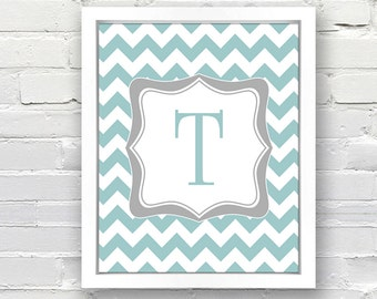 Chevron Pattern Monogram Print - 8x10 - Great for a Child's Bedroom, Baby Shower Gift, Print or Canvas