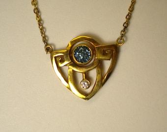 14K Yellow Gold Art Deco Style Handmade Blue Sapphire and Diamond Necklace