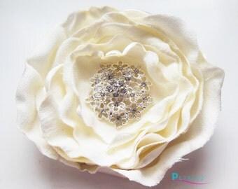 Ivory Bridal Wedding Hair Flower with rhinestone center - Carmen