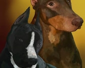 Custom hand painted pet portrait Dog or pet memorial print signed by artist one of a kind  gift unframed
