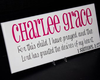 Child Sign with Verse and Scripture. Bible Verse. Nursery Decor, Baby Shower, Christening, Baptism
