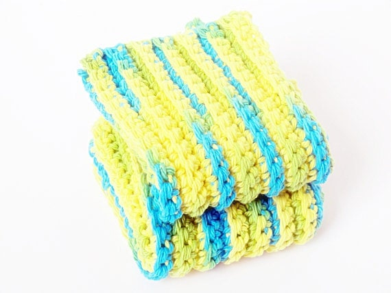 Clearance SALE Crochet Dish Cloths-Set of 2 in teal and yellow