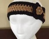 FREE SHIPPING - Very Stylish Crochet Handmade Headband with Flower - - Knit Ear Warmer Soft Warm Knit