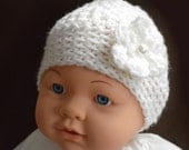 Very Cute Handmade Crochet Baby Hat with Flower  (size  6 months) FREE SHIPPING - Priority Mail (2-3 Days)