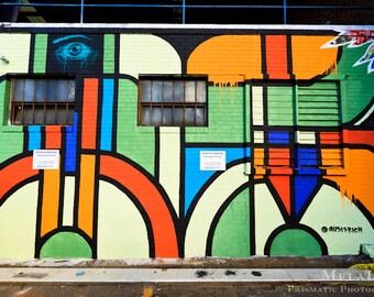 Asheville, NC Urban Photography, Carolina Lane Street Art Photo Print, Graffiti In the Eye of the Beholder, Alleyways, Downtown Asheville