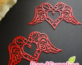 CH-ME-01873 - Red enameled, Filigree heart wing , 4 pcs