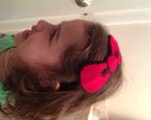 Handmade felt headband. Red bow, hand stitched/felt headband