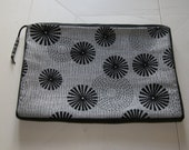 Black & Silver Laptop Sleeve Cover Pouch Handmade In France