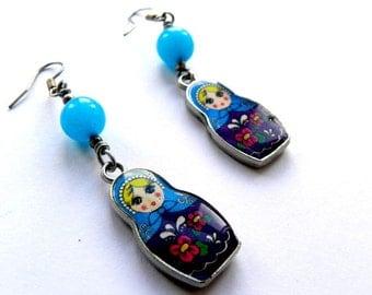 Matrioska Charm Dangle Blue Earrings Cottage Chic
