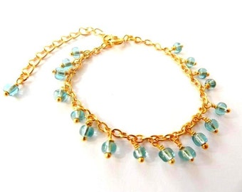 Lulu': Golden Chain Light Blue Glass Seed Beads Boho Beach Style