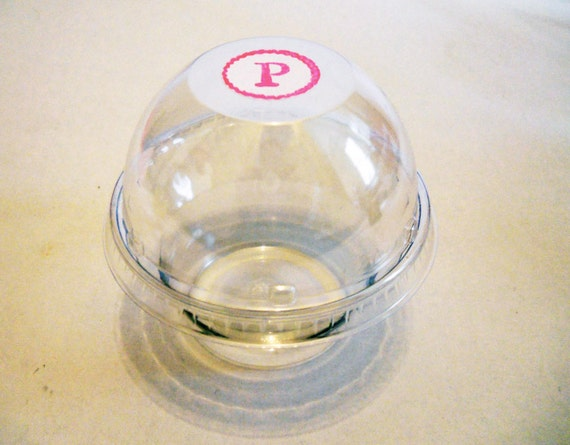 Personalized Clear Plastic Cupcake Containers - Set of 24