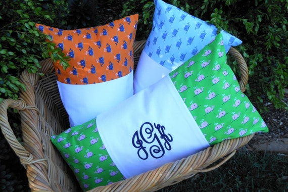 Preppy Dorm Bedding: Items Similar To Monogram Pillow