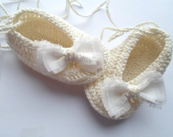 White Linen Baby Girl Shoes, Baby Girl Gift, Christening/Blessing Baby Shoes, Made to order