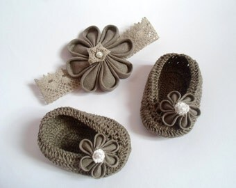 LINEN SET- Shoes, Headband, Linen Baby Girl Flower Shoes and Headband, Baby Girl Gift, Christening/Blessing Baby Shoes, Made to order